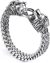 MENDINO Mens Womens Heavy Lion Bracelet Stainless Steel Link Wrist Silver