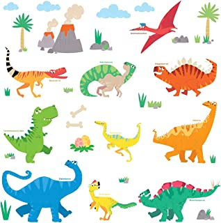 DECOWALL DW-1805 Colourful Dinosaur Kids Wall Stickers Wall Decals Peel and Stick Removable Wall Stickers for Kids Nursery Bedroom Living Room