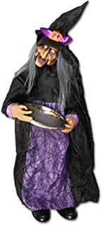Strong Camel Witches for Halloween Animated Talking Witch Halloween Decoration Standing Witch with Light-up Eyes and Candy Tray Scary Haunted House Prop Decor(35.4