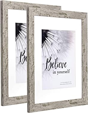11x14 Picture Frame Display Picture 8x10 with Mat, HD Glass Inside Rustic Wooden Grey Photo Frames for Wall Mounting, 2 Sets