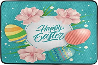 JSTEL Nonslip Door Mat Home Decor, Happy Easter Eggs and Flowers Durable Indoor Outdoor Entrance Doormat 23.6 X 15.7 Inches