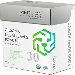 Organic Neem Leaves Powder by Merlion Naturals |Azadirachta Indica | NPOP India and USDA NOP Certified 100% Organic (3.5 OZ)