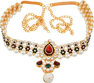 Sanjog Embellished Multi-Color Stone Gold Plated Kamarband Belly Chains for Women/Girls (Green)