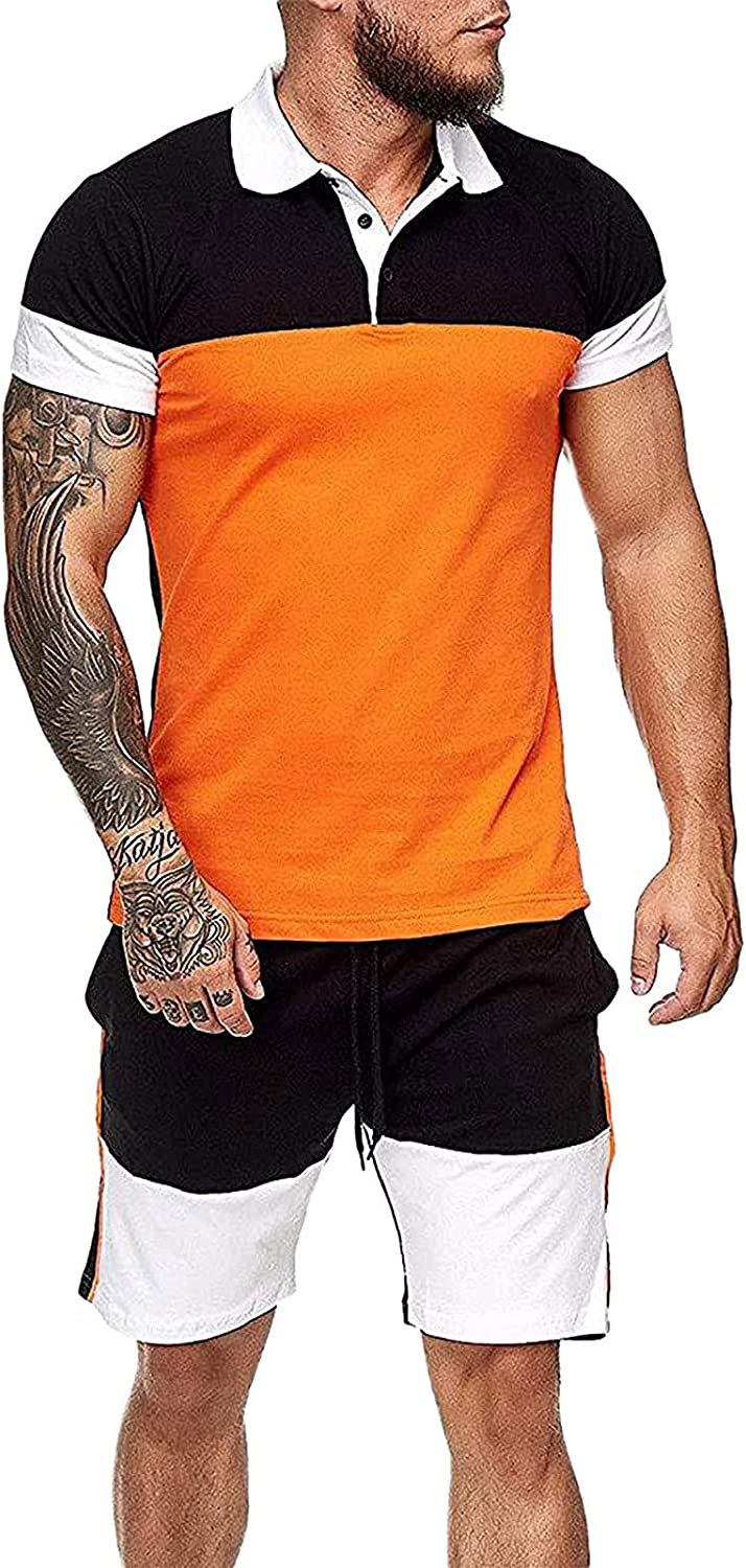 Summer Sports Track Suits for Men Active Sweatsuits Short Sleeve Polo Shirts Shorts Set Outfits