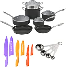 Cuisinart DSA-11 Dishwasher Safe Hard-Anodized 11-Piece Cookware Set,with Stainless Steel Measuring Spoon Set & 6-Piece No...