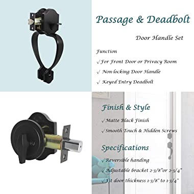 KNOBWELL 1 Pack Single Cylinder Deadbolt HandleSet Double Side Door Handle (for Entrance and Front Door) Reversible for Right