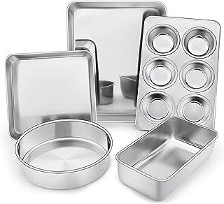 TeamFar Stainless Steel Bakeware Set of 5, Toaster Oven Baking Roasting Pans, Square/Round Cake Pan, Loaf Pan & Muffin Pa...