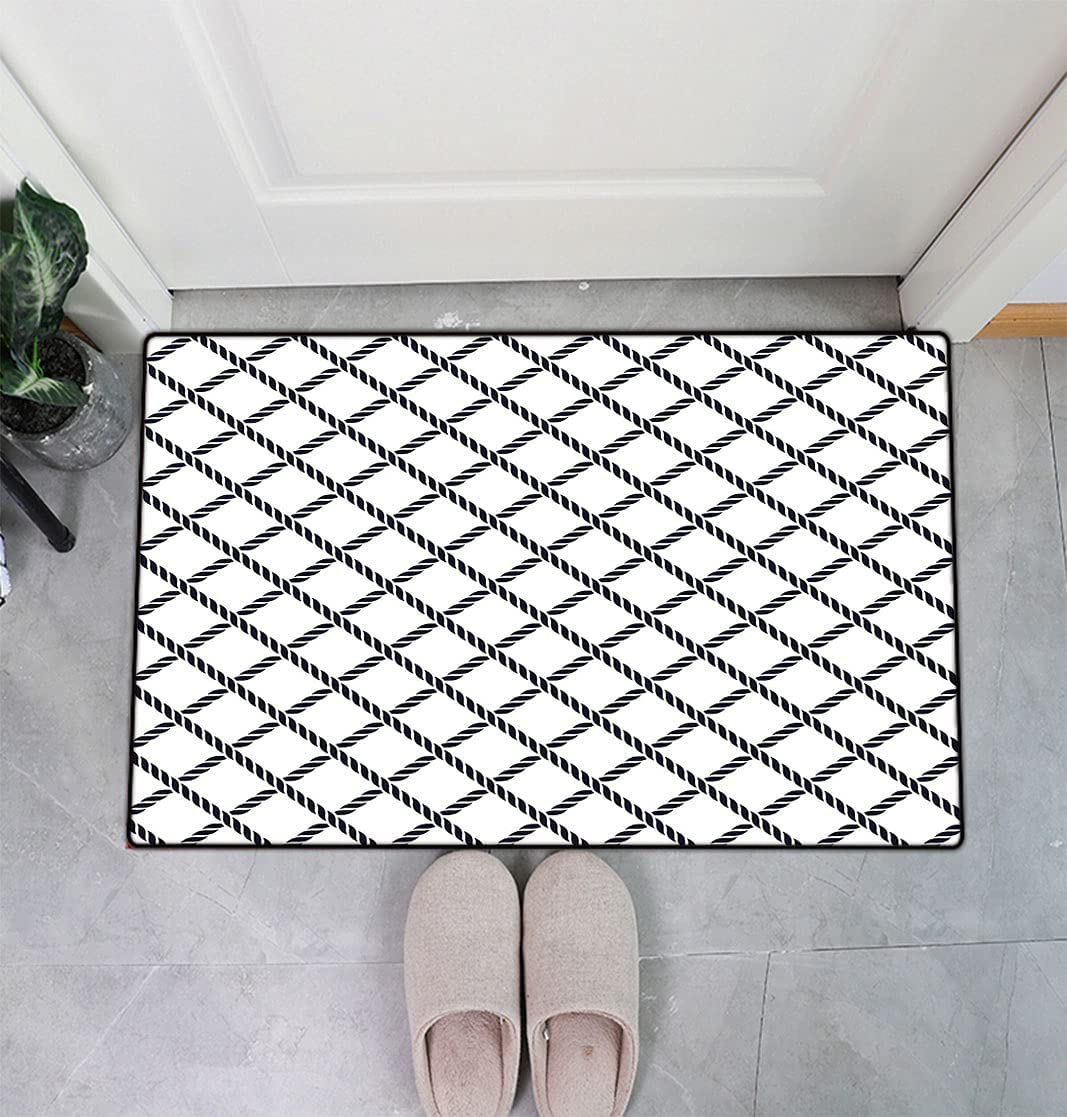 2021 model Geometric Brand Cheap Sale Venue Doormats Checkered Rope Themed Pattern Fish Maritime