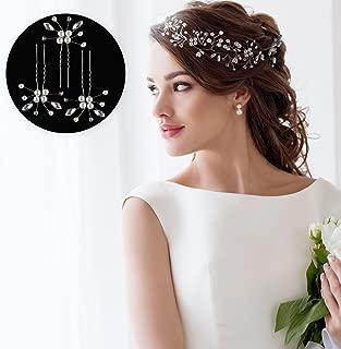 HANDMADE HAIR ACCESSORIES FOR WEDDING + 3 BONUS FLOWER WEDDING HAIR PINS - WEDDING HAIR ACCESSORIES FOR BRIDES - BRIDAL HEADBAND FOR LONG OR SHORT HAIR - CRYSTAL PEARL SILVER HAIR VINE - HAIR JEWELRY