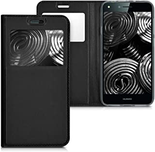kwmobile Flip Case for Huawei Y6 II Compact (2016) - PU Leather Book Style Wallet Protective Cover with Window - Black Black 41140.01