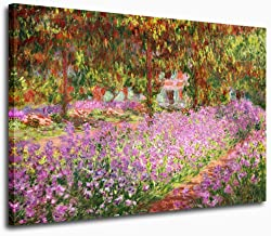 Canvas Wall Art Prints Irises in Monet's Garden by Claude Monet Canvas Painting Picture Wall Decor Framed Ready to Hang - 30