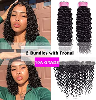 10A Brazilian Human Hair Water Wave Bundles with Frontal Closure (10 12+10) Remy Wet and Wavy Hair Weave 2 Bundles With 13x4 Lace Frontal Unprocessed Virgin Brazilian Water Wave Hair Extensions