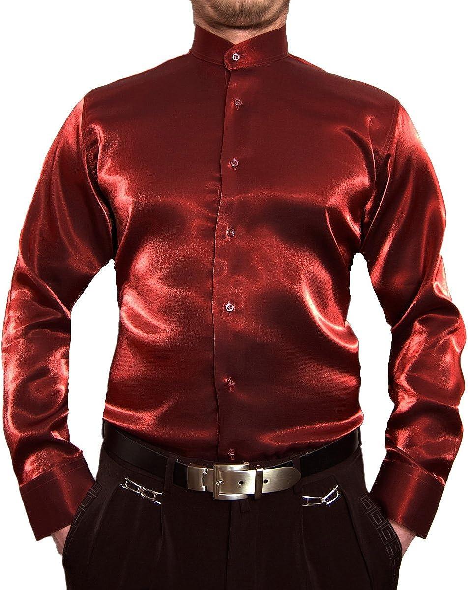 Designer Hombre libre de planchar Camisa de cuello alto brillo Camisa para hombre negro blanco rojo azul plata satén Look brillo Camisa Cuello Alto ...