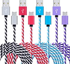 USB Cable Android, 4-Pack 6ft Long Samsung Fast Charger Cord Sync Micro USB Charging Cable Android Charger Cord for Samsung Galaxy S7 Edge/S6/S5 J3 J7, LG Stylo 3 Plus, Echo Dot, PS 4 Pro, Xbox One
