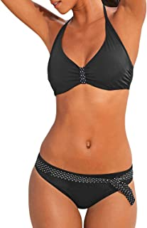 d9f7ddccce Dokotoo Womens Padded Push Up Bikini Set Halter Bathing Suits 2 Pieces  Swimsuit Swimwear