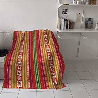 WodCht Native American Fabric The Yard Lightweight Blanket,South American Colorful Pattern Birds Bolivian Traditional Borders,Soft Blanket Microfiber,Digital Printing Blanket 60