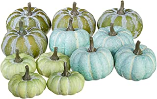 Raz Soft Blue Green Pumpkin 3.25 inch Foam Decorative Tabletop Figurine, Bag of 12