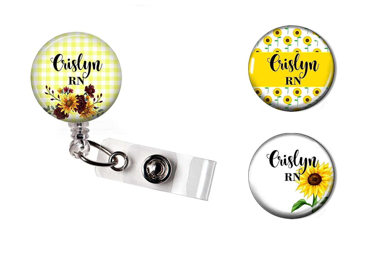 Sunflower Cheap super special price Floral Retractable Badge Holder Personalized RN Quality inspection Reel