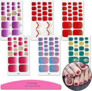 SILPECWEE 6 Sheets Glitter Toenail Art Polish Stickers Tips And 1Pc Nail File Gold Self-adhesive Manicure Wraps Decals Strips Kit