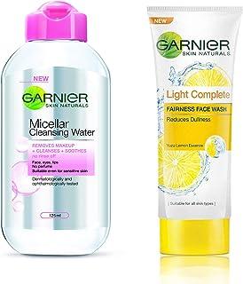 Garnier Skin Naturals, Micellar Cleansing Water, 125ml And Garnier Skin Naturals Light Complete Facewash, 100g