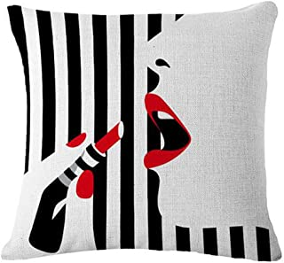 Bnitoam Simple Black Background Fashion Girl Makeup Cotton Linen Throw Pillow Covers Case Cushion Cover Sofa Decorative Square 18 inch (to wear Lipstick)