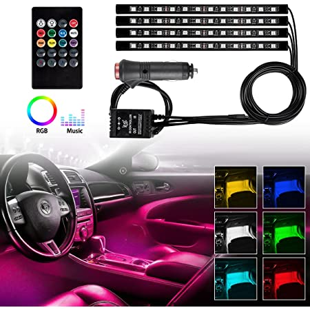 FABTEC 4X12 LED Strip Universal Atmosphere Light for Car Interior with Music Controller and Remote (Multicolor).