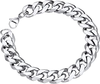 Mens Stainless Steel Round Curb Bracelet Chunky Punk Jewellery Men Women