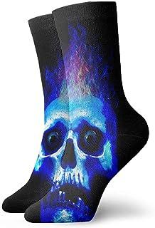 AEMAPE, Calcetines deportivos con amortiguación de calavera ardiente azules, trabajo esencial que absorbe el deporte para hombres y mujeres