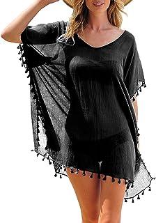 MIXIDON Mujer Ropa de Baño Suelto Vestido de Playa Borla Verano Camisolas y Pareos Bikini Cover up