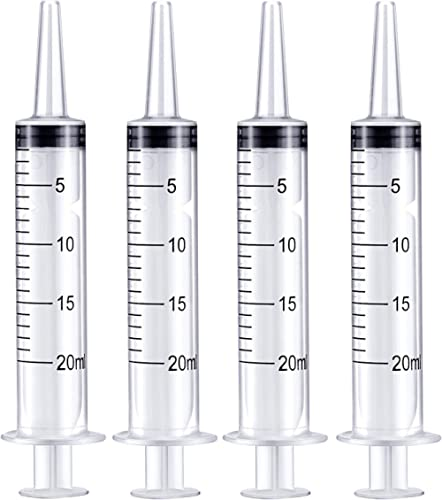 Frienda 4 Pack Large Plastic Syringe for Scientific Labs and Dispensing Multiple Uses Measuring Syringe Tools (20 ml)