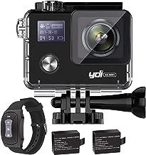 YDI G80 4K 20MP Cámara Deportiva Impermeable Videocámara Acuatica WiFi Gyro Anti Vibración Cámara de Acción con Control Remoto, 2 * 1050 mAh Baterías