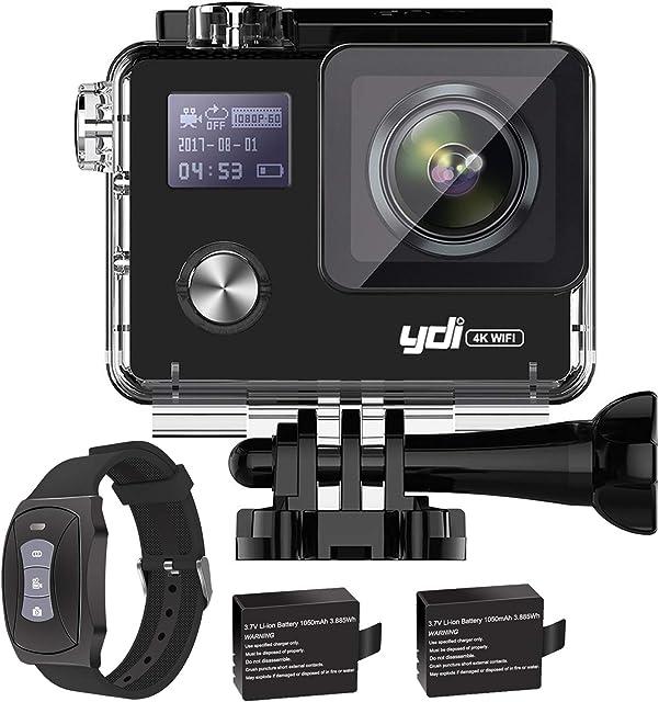 YDI G80 4K 20MP Cámara Deportiva Impermeable Videocámara Acuatica WiFi Gyro Anti Vibración Cámara de Acción con Control Remoto 2 * 1050 mAh Baterías