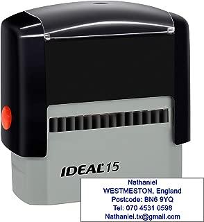 Sellos de goma personalizables (70 x 25mm- 5 líneas)- personalizables Sello autoentintable- Volver sello de dirección personalizado, Azul
