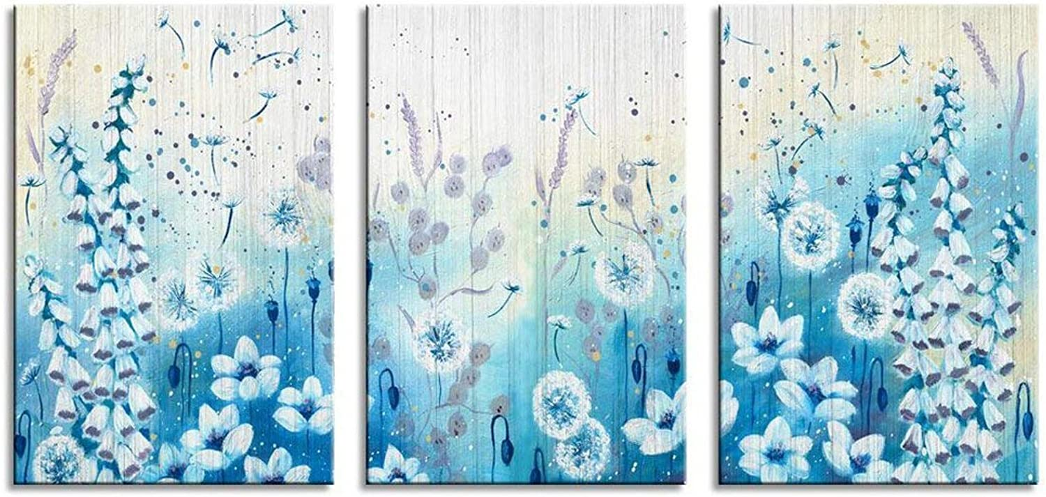Flower Wall Art bluee Garden with Wildflowers Relaxing Artworks for Living Room Decor (RF03, Large)