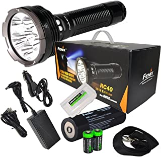 FENIX RC40 2016 Rechargeable 6000 Lumen Cree XM-L2 U2 LED Flashlight/ Searchlight, Car / Home charger, Fenix ARB-L3 7800mAh battery with EdisonBright battery sampler & BBX3 battery case bundle