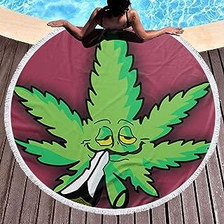 80s Coke Bottle Glasses Marihuan Leaf Round Beach Towel Large Beach Blanket Bath Cloth Outdoor Picnic Mat Yoga Mat Bohemian Decoration, Fast Dry Circle Tablecloth (59 inch Diameter)