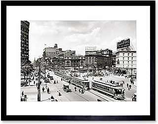 The Art Stop Vintage Photo Cityscape Woodward Avenue 1917 Detroit Framed Print F12X5388