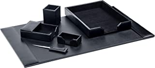 Dacasso Black Bonded Leather 6-Piece Desk Set