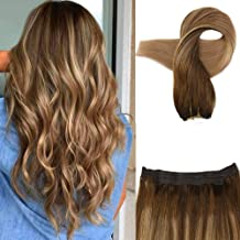 Fshine 16 Inch Ombre Halo Extensions Layered On Remy Human Hair Color 4 Fading To Color 10 Ash Blonde With Color 16 Golden Blonde Dip Dyed Invisible Wire Halo Straight Hair 80 Gram Fish Line Extensions