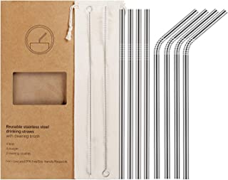 YIHONG 8 Pcs Reusable Metal Drinking Straws - 8.5Inch Stainless Steel Straws - 6mm Diameter Wide- Compatible with 20oz Yeti Tumblers - For Cold Beverage - 4 Straight + 4 Bent + 2 Brushes+1 Pouch