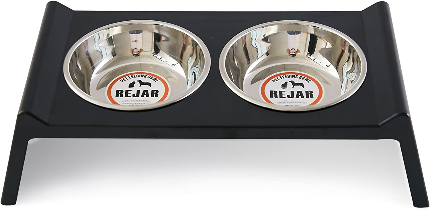 Rejar Elevated Dog Feeding Double Bowl Food and Water Pet Feeder Bowl for Cats Non Skid Melamine Stainless Steel Whisker Stress Free Removable for Kitten and Small Dogs