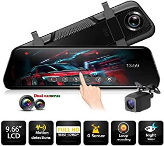 Full HD 1080P Mirror Dash Cam Video Recorder Car DVR 2-CH Front and Rear Dual Lens with Backup Camera 10 inch Full Touch Screen Streaming 170° Wide Angle with Night Vision,Time Lapse,Parking Monitor