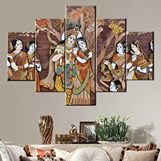 Indian Hindu Gods Painting Radha Krishna Pictures House Decorations Living Room 5 Pcs/Multi Panel Canvas Vintage Wall Art ...