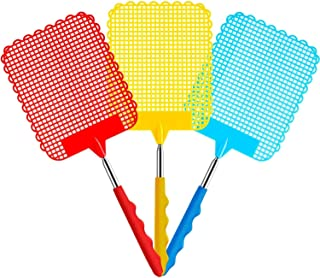 Fly Swatter, DELFINO 3 Pack Extendable Fly Swatter, Flexible Manual Swat Pest Control with Durable Stainless Steel Telesco...