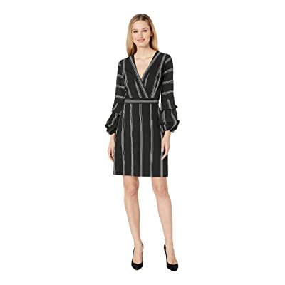 Laundry by Shelli Segal V-Neck Tiered Sleeve Fit Flare Dress (Black/White) Women