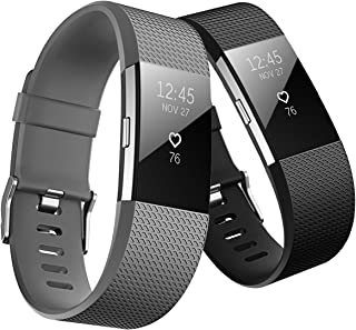 Fitbit Charge 2 Band, Hanlesi TPU Soft Silicone Adjustable Replacement Sport Strap Long Band for Fitbit Charge 2 Smartwatc...