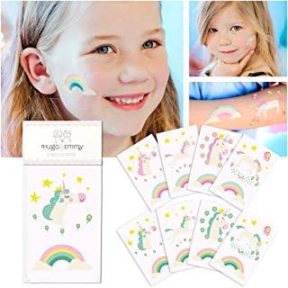Unicorn Temporary Tattoos for Kids - Unicorn Party Favors, Birthday Decorations and Supplies - Non-toxic and Waterproof - Pack of 16 sheets (32 Fake Tattoos)
