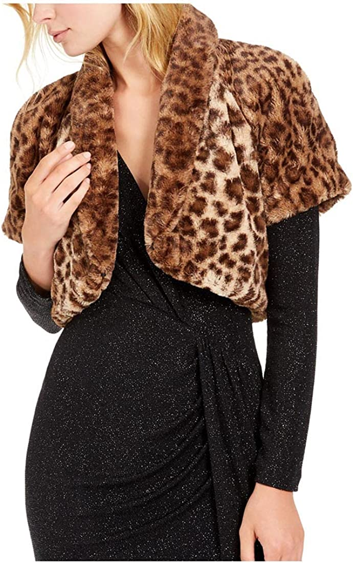 Vince Camuto Women's Leopard-Print Faux-Fur Shrug in Animal