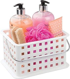 InterDesign Basic corbeille rangement, petit panier salle de bain en plastique pour accessoires de douche et soins, blanc