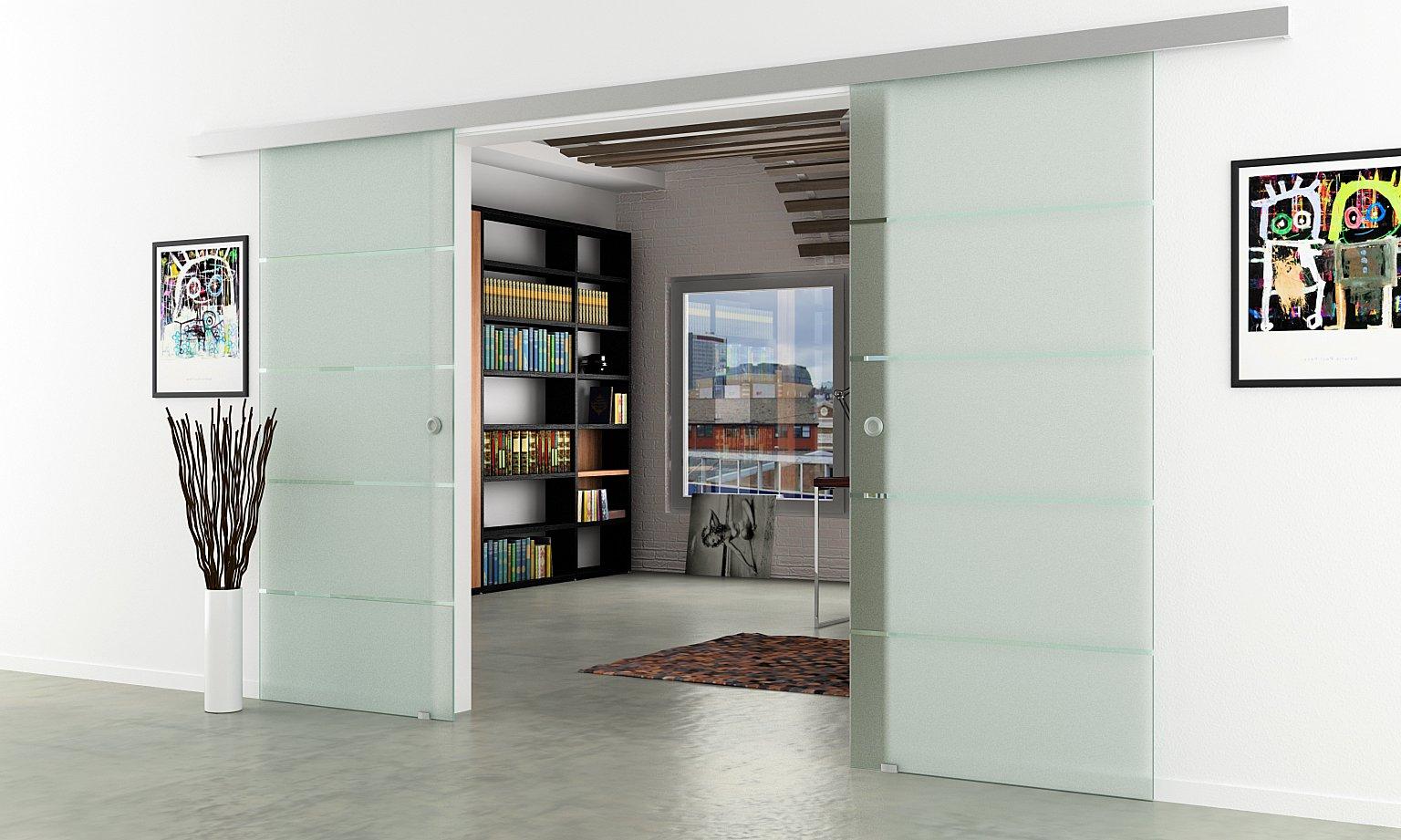 Correderas de cristal de puerta de planta | Anchura total: 1550 mm - Altura total: 2050 mm